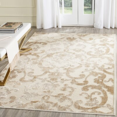 Dantes Silk Stone/Cream Area Rug Rug Size: Rectangle 27 x 4
