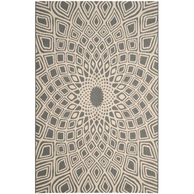 Courtyard Anthracite/Beige Area Rug Rug Size: 6'7