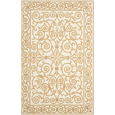 Chelsea Ivory & Gold Area Rug Rug Size: 2'6