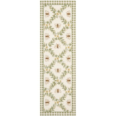 Isabella Ivory / Green Bumblebee Area Rug Rug Size: Runner 26 x 6