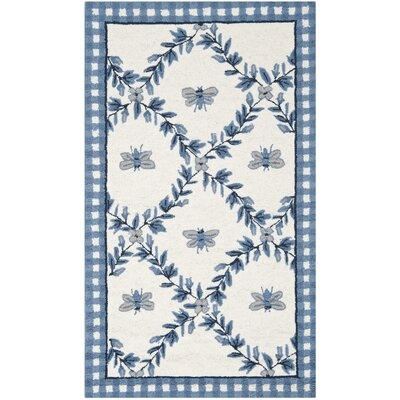Isabella Ivory/Blue Bumblebee Area Rug Rug Size: 39 x 59