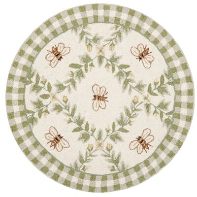 Kinchen Ivory/Green Bumblebee Area Rug Rug Size: Round 4