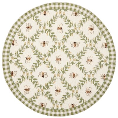 Isabella Ivory / Green Bumblebee Area Rug Rug Size: Round 3