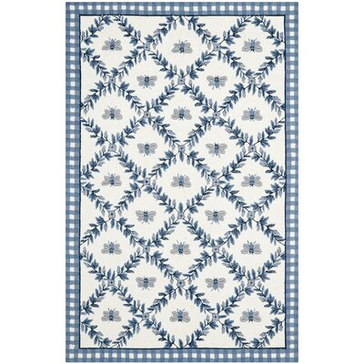 Isabella Ivory/Blue Bumblebee Area Rug Rug Size: 6 x 9