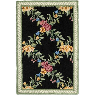 Kinchen Black English Trellis Area Rug Rug Size: Rectangle 18 x 26