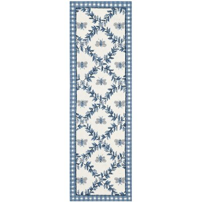 Kinchen Ivory/Blue Bumblebee Area Rug Rug Size: Runner 26 x 12