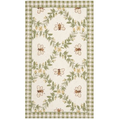 Kinchen Ivory/Green Bumblebee Area Rug Rug Size: Rectangle 18 x 26