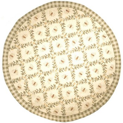 Isabella Ivory / Green Bumblebee Area Rug Rug Size: Round 8