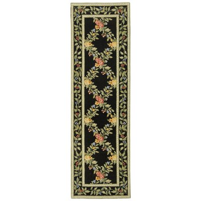 Kinchen Black English Trellis Area Rug Rug Size: Runner 26 x 8