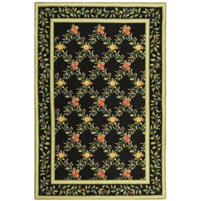 Isabella Black English Trellis Area Rug Rug Size: 89 x 119