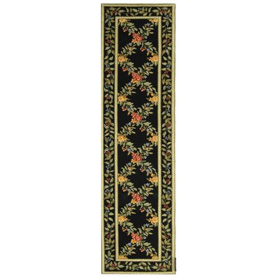 Isabella Black English Trellis Area Rug Rug Size: Runner 26 x 10