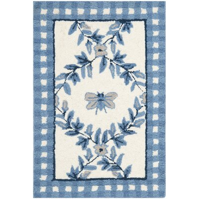 Kinchen Ivory/Blue Bumblebee Area Rug Rug Size: Rectangle 18 x 26