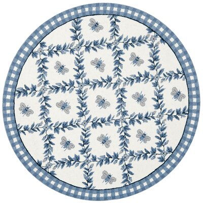 Kinchen Ivory/Blue Bumblebee Area Rug Rug Size: Round 3