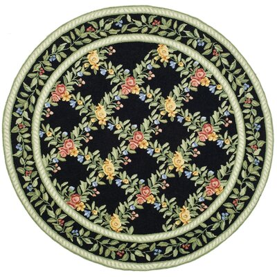 Kinchen Black English Trellis Area Rug Rug Size: Round 56