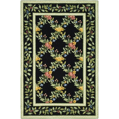 Isabella Black English Trellis Area Rug Rug Size: 39 x 59