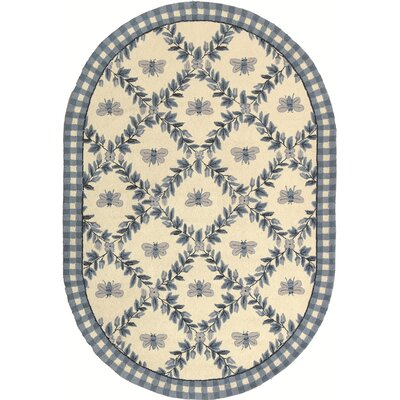 Isabella Ivory/Blue Bumblebee Area Rug Rug Size: Oval 46 x 66