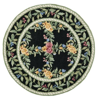 Chelsea Black English Trellis Area Rug Rug Size: Round 3'