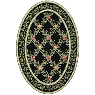 Kinchen Black English Trellis Area Rug Rug Size: Oval 4'6