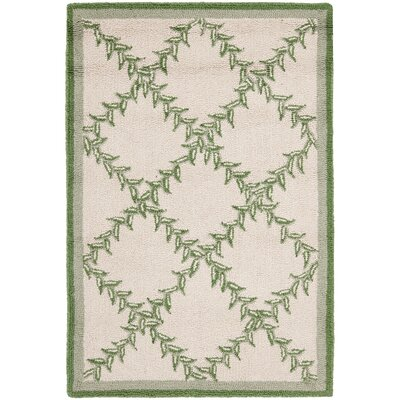 Kinchen Ivory & Light Green Wilton Trellis Area Rug Rug Size: Rectangle 53 x 83