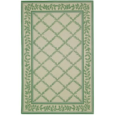 Chelsea Ivory & Light Green Wilton Trellis Area Rug Rug Size: 5'3