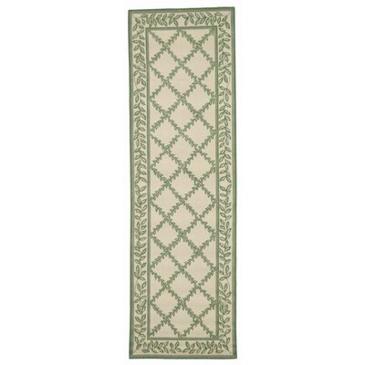 Kinchen Ivory & Light Green Wilton Trellis Area Rug Rug Size: Runner 26 x 6