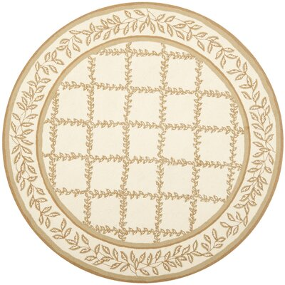 Kinchen Ivory/Camel Area Rug Rug Size: Round 8