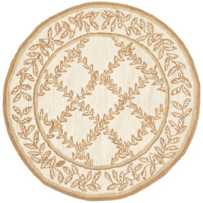 Kinchen Ivory/Camel Area Rug Rug Size: Round 56