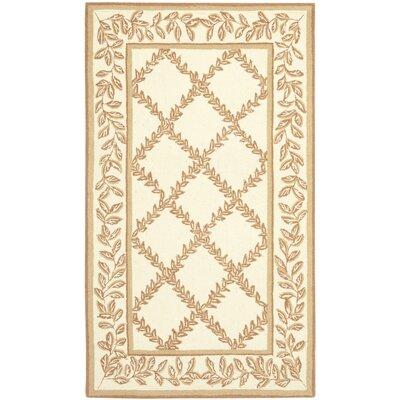 Isabella Ivory / Camel Area Rug Rug Size: 39 x 59