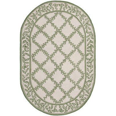 Isabella Ivory & Light Green Wilton Trellis Area Rug Rug Size: Oval 46 x 66