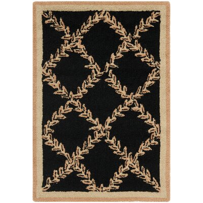 Kinchen Black/Beige Wilton Trellis Area Rug Rug Size: Rectangle 18 x 26