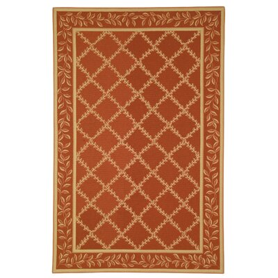 Kinchen Rust/Gold Wilton-Trellis Area Rug Rug Size: Rectangle 89 x 119