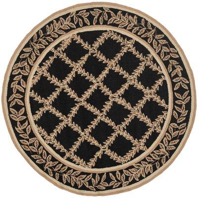 Kinchen Black/Beige Wilton Trellis Area Rug Rug Size: Round 56