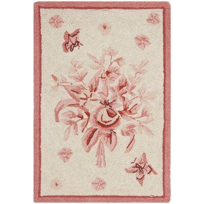 Isabella Ivory / Pink Rose Garden Area Rug Rug Size: 18 x 26