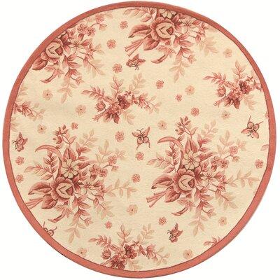 Isabella Ivory / Pink Rose Garden Area Rug Rug Size: Round 3