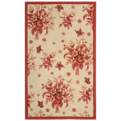 Isabella Ivory / Pink Rose Garden Area Rug Rug Size: 39 x 59