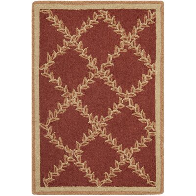 Kinchen Rust/Gold Wilton-Trellis Area Rug Rug Size: Rectangle 18 x 26