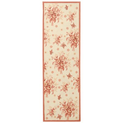 Kinchen Ivory/Pink Rose Garden Area Rug Rug Size: Runner 26 x 6