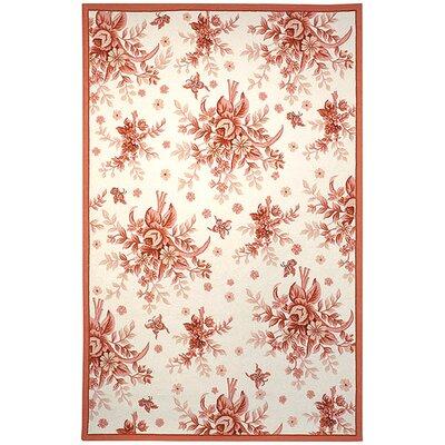 Isabella Ivory / Pink Rose Garden Area Rug Rug Size: 89 x 119