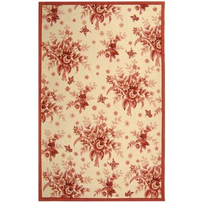 Isabella Ivory / Pink Rose Garden Area Rug Rug Size: 53 x 83