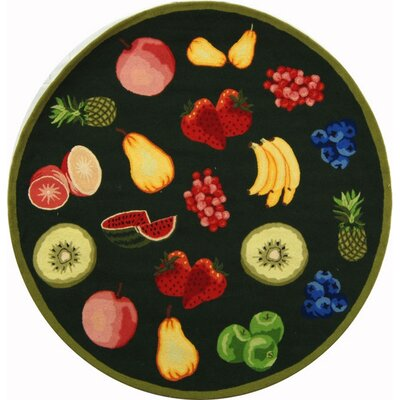 Kinchen Green Savoy Fruit Novelty Area Rug Rug Size: Round 5'6