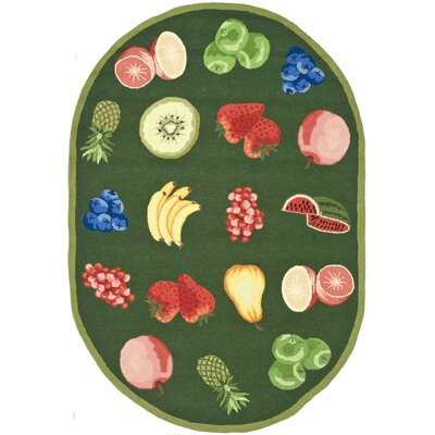 Isabella Green Savoy Fruit Novelty Area Rug Rug Size: Oval 46 x 66