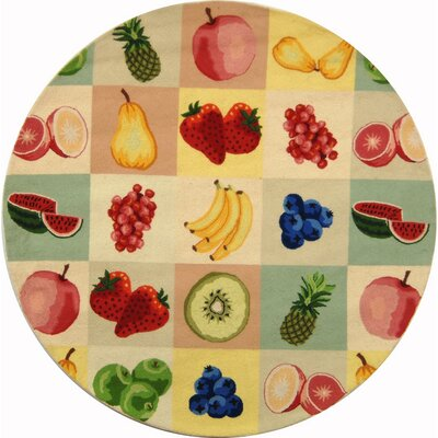 Kinchen Fruit Novelty Area Rug Rug Size: Round 3
