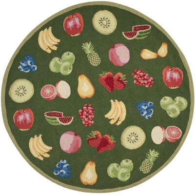 Kinchen Green Savoy Fruit Novelty Area Rug Rug Size: Round 8'