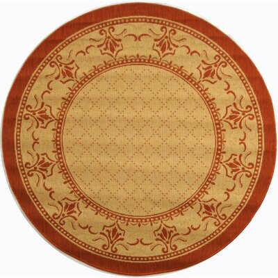 Courtyard Classic Border Outdoor Rug Rug Size: Round 5'3