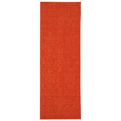 Courtyard Red Solid Outdoor Area Rug Rug Size: Runner 2'4