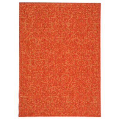 Courtyard Red Solid Outdoor Area Rug Rug Size: 4' x 5'7