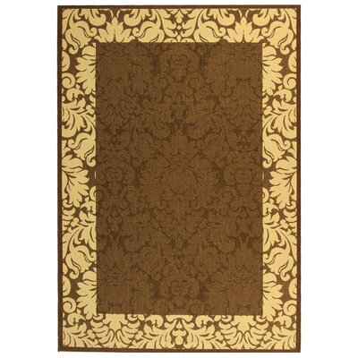 Courtyard Chocolate / Tan Outdoor Area Rug Rug Size: 6'7