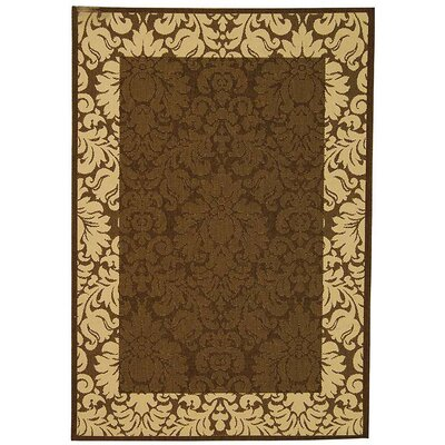 Courtyard Chocolate / Tan Outdoor Area Rug Rug Size: 4' x 5'7