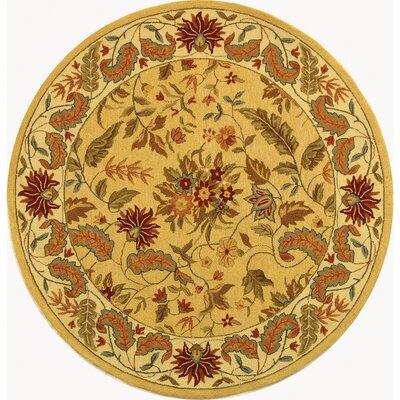Chelsea Beige & Red Missy Floral Area Rug Rug Size: Round 3'