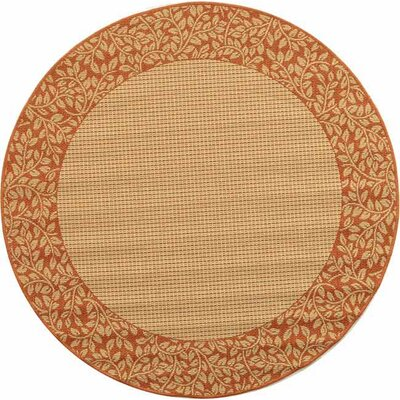 Courtyard Natural/Terracotta Outdoor Area Rug Rug Size: Round 53